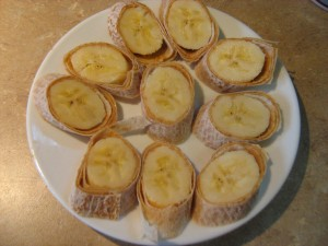 Banana peanut butter breakfast wraps