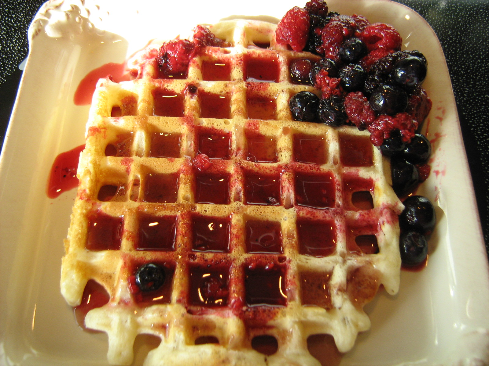 waffles with berries for breakfast