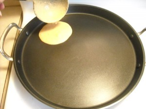 pour the batter on the pan